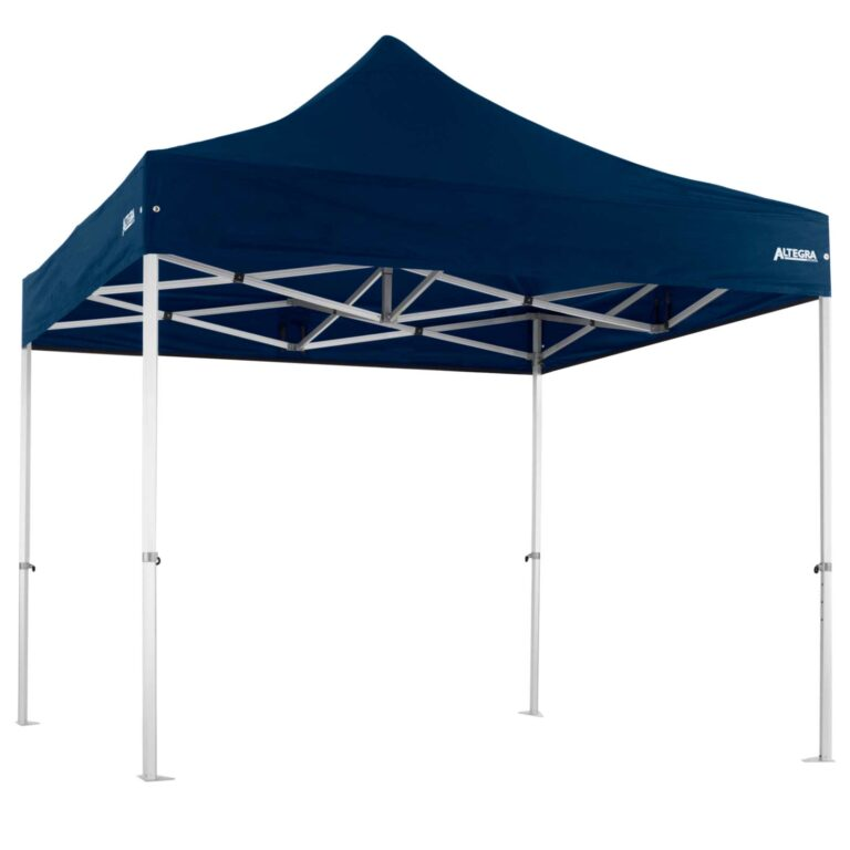 Altegra 3x3m Heavy Duty gazebo - Australia's iconic premium pop up tent for events - 50mm (58mm diag.) hexagonal aluminium legs locked together with aluminium joints and topped with our UPF50+ elite canopy in Navy Blue.