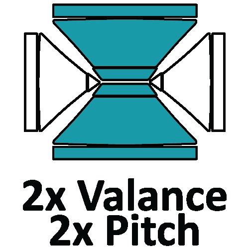 Altegra custom printed 3x4.5m gazebo - printed canopy panel icons - 2 x 4.5m Valance, 2x 4.5m Pitch