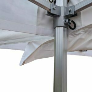 Altegra Marquee joining gutter in white attached to white event marquees - an essential accessory to weather-proof connected marquees and gazebos.